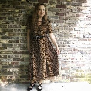 Vintage Studio I Leopard Print Button Front Dress